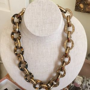 J Crew Tortoise and gold resin necklace